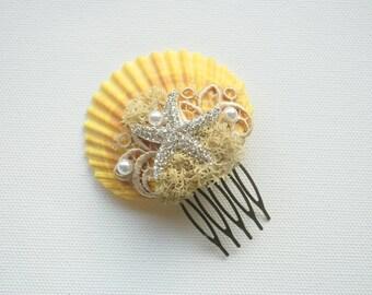 Beach Weddings Yelloow Bridal Sea Shells Comb, Nautical Hawaiian Weddings Hair Accessories, Bridal Starfish Headpiece, Yellow Starfish Comb