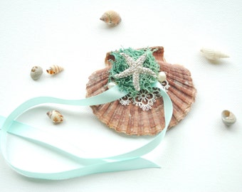 Alternative Seashell Ring Bearer Pillow, Seashell Engagement Ring Holder, Mint Nautical Beach Wedding Party, Hawaiian Wedding, Starfish