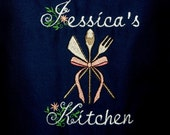 Personalized Apron with Kitchen Utensils Embroidered Design