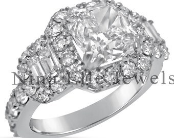 2.16ctw CUSHION cut ANTIQUE style diamond engagement ring w round & baguette cut diamonds C22