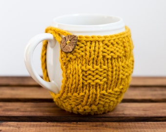 Knitted Mug Cozy, Coffee Cozy, Mug Coaster, Knit Cup Cozy - Pinesap Mug Cozy