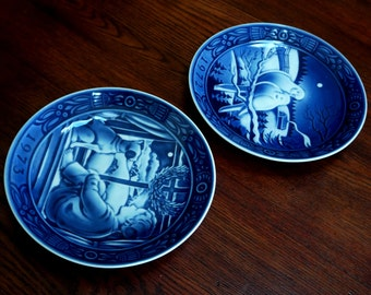 Vintage Christmas Plates Cobalt Blue Georg Jensen Doves Boy and Dog Made in Denmark 1st and 2nd Editions 1972 1973