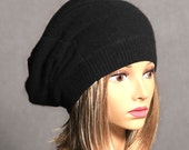 Anna, 100% pure cashmere hat,  slouchy, beanie, color black with button on the back, men or women