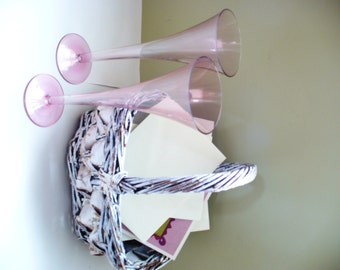 Pink Champagne Glass Vintage Wedding Gift Set of Two Flutes Glasses