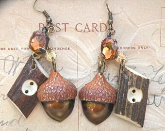 acorn earrings fall assemblage lumberjack upcycle jewelry