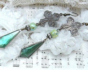 catholic medal assemblage earrings mismatch recycle green