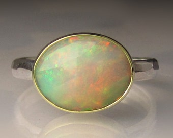 Opal Ring, Rose Cut Ethiopian Opal Ring, 18k Gold and Sterling Silver
