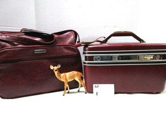 2 Piece Vintage Luggage Set, Samsonite Silhouette Carry On Overnight Train Case Complete w/ Key Tag Mirror Burgundy Clean Traincase Suitcase