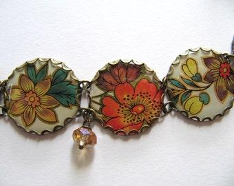 Vintage Tin Charm Bracelet, White with Orange, Yellow Flowers, Green, Brown Leaves, Glass Beads - OOAK Handmade Bracelet, Repurposed Jewlery