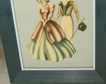Vintage 1940's TURNER PRINT Picture Shabby Chic Fabulous Blue Wood Frame