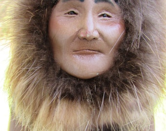 Fabulous Vintage Palmer Alaska Artist Jeanette Ramberg Handcrafted Hand painted Doll Figure FOLK ART