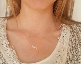 Simplicity Clear Quartz and gold chain Necklace. Minimalist. Bar necklace. Crystal quartz. Boho. Layer. Everyday. Geometric. Dainty Gemstone