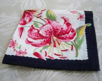 Vintage Accessory Handkerchief Pink Tiger Lily Flower Collectible
