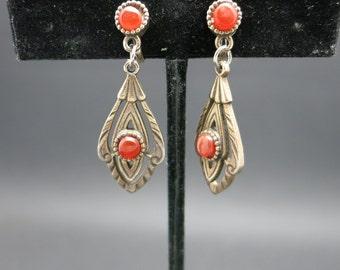 Carnelian earrings Clip on Vintage Dangles