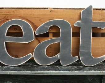 """12"""" eat - Wood Letter Lowercase Letter Set  - Handpainted Distressed Wooden Letters for Home Dining Room Kitchen - You Choose Color"""