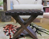 Doll sized endtable with woven leather top