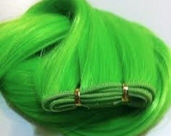 Bulk Lime Green Human Hair Extension weave, Use to make clip in extensions