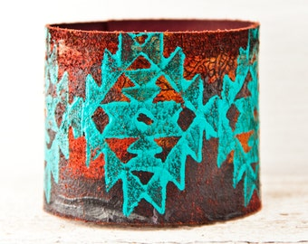 Geometric Tribal Native Bracelet Cuff - Leather Jewelry Indigenous Design Indian Turquoise Fashion