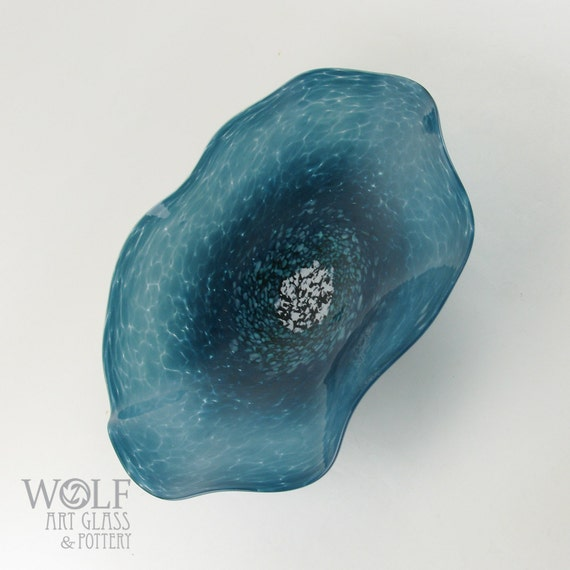 MADE TO ORDER Opaque Denim Blue Green Poppy Flower Blown Glass Wall Art Sculpture