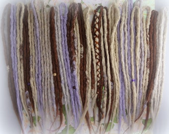 Synthetic dreadlock extensions. Blonde Auburn White Purple knotty dreads. 30 Double Ended Full head of 60 when installed. Ready to Ship