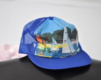 Rare 70s Photo Hat South Carolina Cap Snapback Design Windsailing Sailing Boating Summer Trucker Hat Patch Vintage Royal Blue