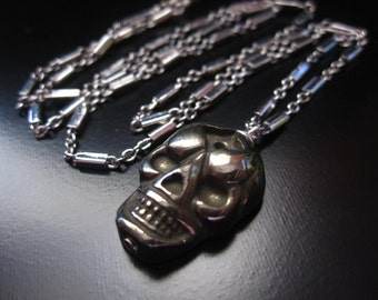 Skull Necklace, Pyrite Skull Pendant, Carved Pyrite Skull Bead, Antique Silver Chain, Skull Jewelry, Skull Chain Necklace, Halloween Jewelry