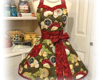 Handmade retro style women's apron in festive grapes and cheese print., Bridal gits, kitchen, hostess, over the head, retro