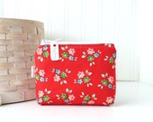 Retro Red Floral Coin Purse Gift Card Credit Card Holder Floral Zipper Pouch Floral Change Purse