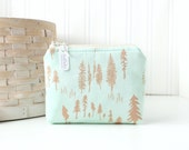 Woodland Trees Coin Purse Gift Card Credit Card Holder Woodland Zipper Pouch Change Purse