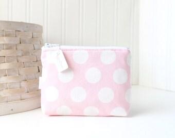 Pink Polka Dot Coin Purse Gift Card Credit Card Holder Pink Zipper Pouch Change Purse
