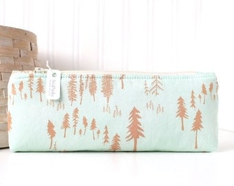 Aqua Blue and Brown Woodland Pencil Case Blue Pencil Pouch  Woodland Purse Organizer