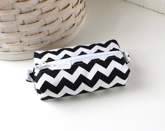 Black and White Boxy Pouch Small Boxy Pouch Chevron Coin Purse Chevron Change Purse Zipper Pouch