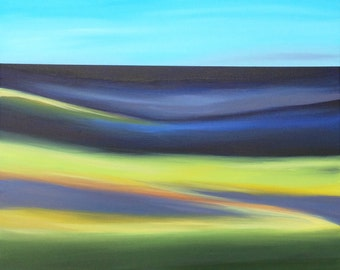 Abstract Landscape Painting Modern Art Field Marsh Painting Contemporary Art Blue Original Canvas Sky Sea Mountains Hills