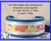 Jan's Martingales, Blue Walking Lead, Collar and Lead Combination, Greyhound, Large Dog Size, Blu122