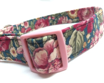 Pink Green Flowers Fabric Dog Collar Cabbage Rose