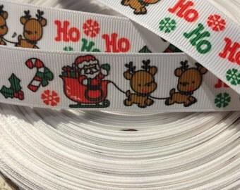 "3 YARDS 7/8"" Christmas Reindeer Sleigh Santa Ho Ho Ho Winter Grosgrain ribbon"
