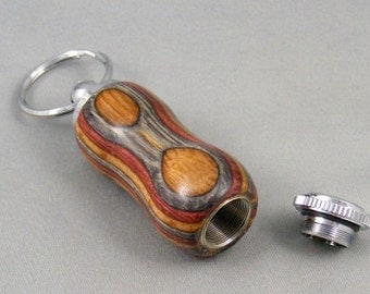 Brown Grey Colorwood Chrome Pill Holder Secret Compartment Keychain