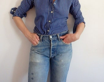 Womens Blouses Vintage Striped Navy White