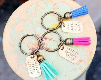 Tassel Keychain. Personalized Keychain. Monogram Keychain. Gold Keychain. Quote Keychain. Inspirational Gift. Made in America