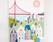 San Francisco Golden Gate Bridge, Wall Art Canvas Framed Skyline, Cityscape Print, Home decor, Office, colorful kids room picture, nursery