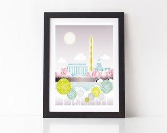 Washington DC Print, Skyline Wall Art, Congress, Lincoln memorial, Paper Poster, Cityscape Illustration, Home Decor, Office Nursery, SPPW1