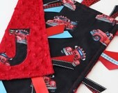 Taggie, Blanket, Baby, Boy, Fire Truck, Minky, Ribbon, custom, Personalized, gift, sensory, red, black, turquoise