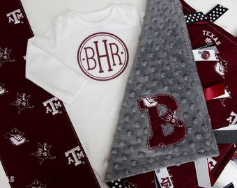 taggie, blanket, Aggie, Texas A&M, onesie, burp cloth, gift set, baby, monogrammed, personalized, lovey, minky, ribbon