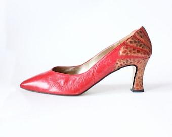 Vintage Embellished Heel Red Leather Pumps, size 8.5
