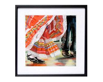 Mexican Art Prints Cinco de Mayo Art Mexican folk art prints Mexican dance art print Watercolor painting Mexican wall art decor