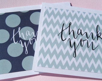 Chevron and Polka Dot Flat Thank You Cards - Navy Blue and White Polka Dot Thank You Cards - Blue Chevron Flat Note Cards - bcpf1
