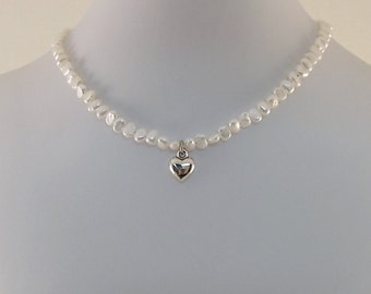 Freshwater Pearl Heart Necklace - Seed Pearl Necklace - Silver Heart Necklace - Little Girl Necklace - Child Size - Silver Necklace - CH017
