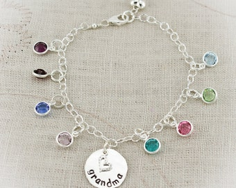 Grandmother or Mother Personalized Bracelet with Birthstones - Hand Stamped in Sterling Silver