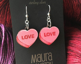 Hand painted candy heart earrings