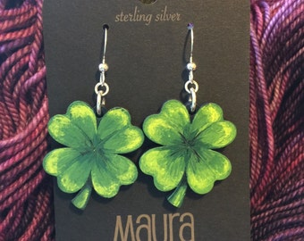 Hand Painted Lucky Shamrock Earrings